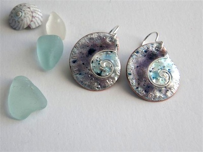 shell enamel earrings
